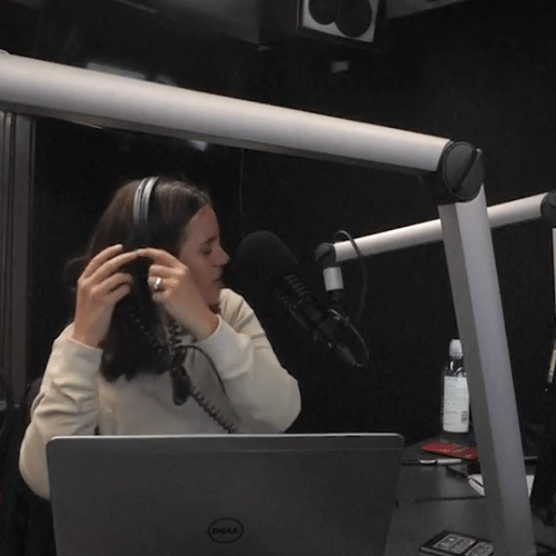 Tamara Battles with Tangled Headphones
