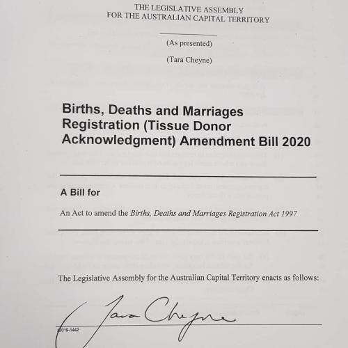 ACT organ donors recognised on their death certificate in Australian first
